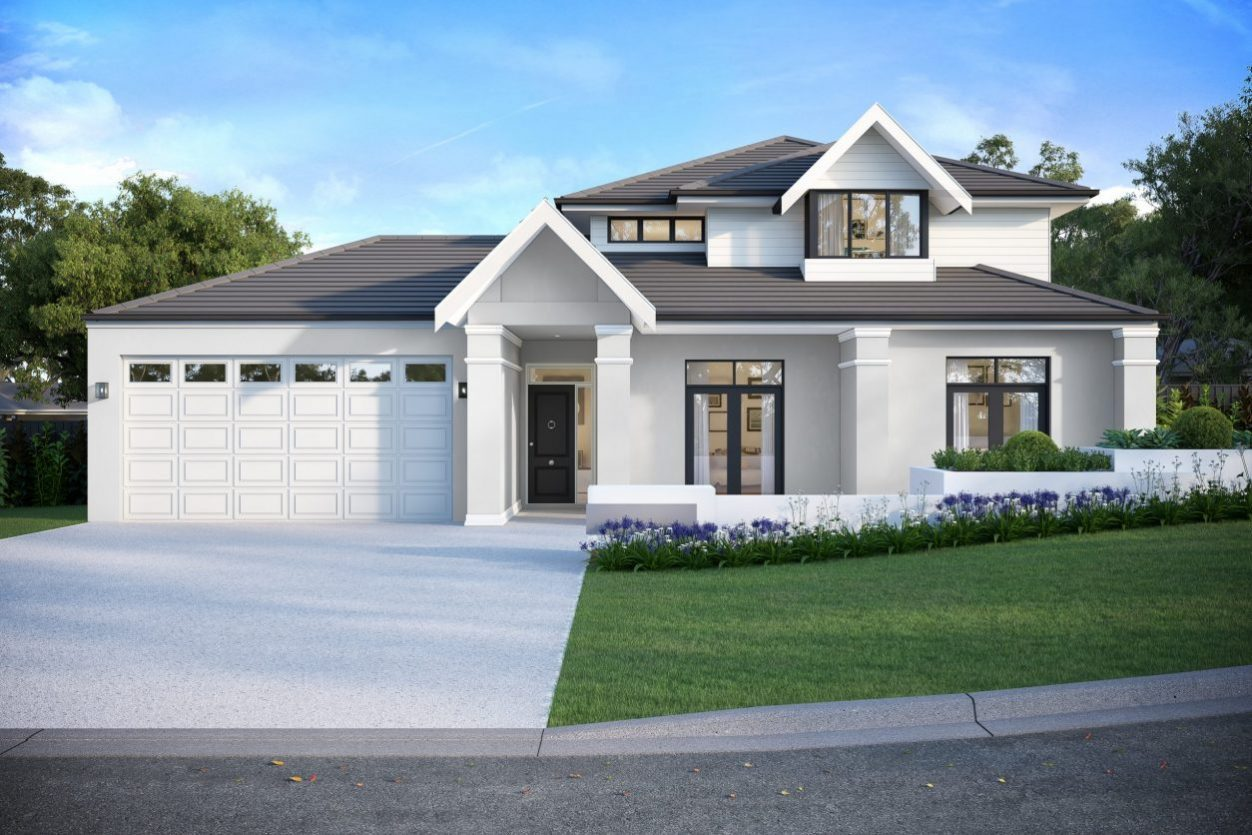 Render of the Hamptons style luxury home. White two storey house with dark roof.